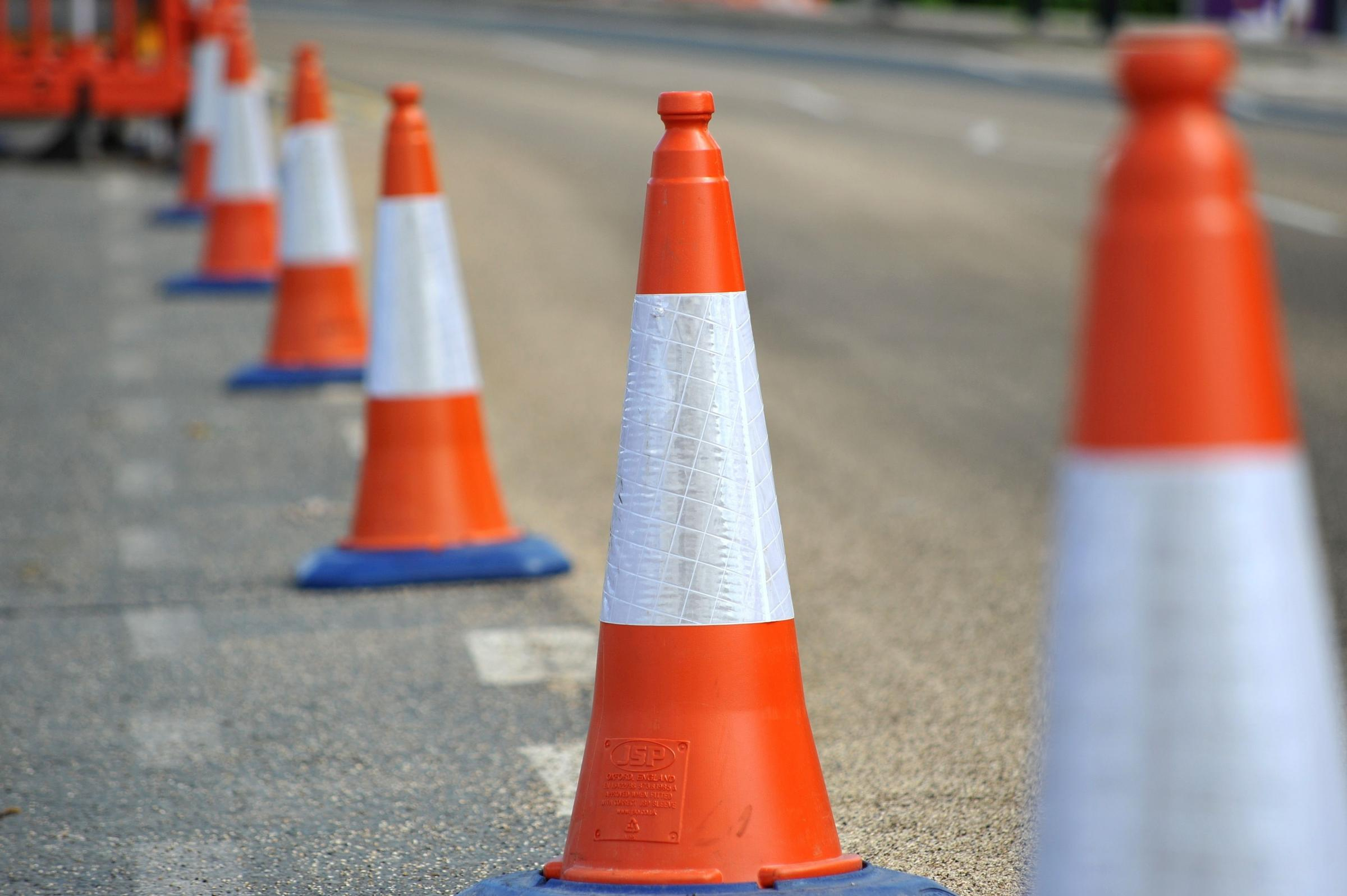 Stock photograph of traffic cones. Pic Jonathan Barry 14.5.14  201459860.
