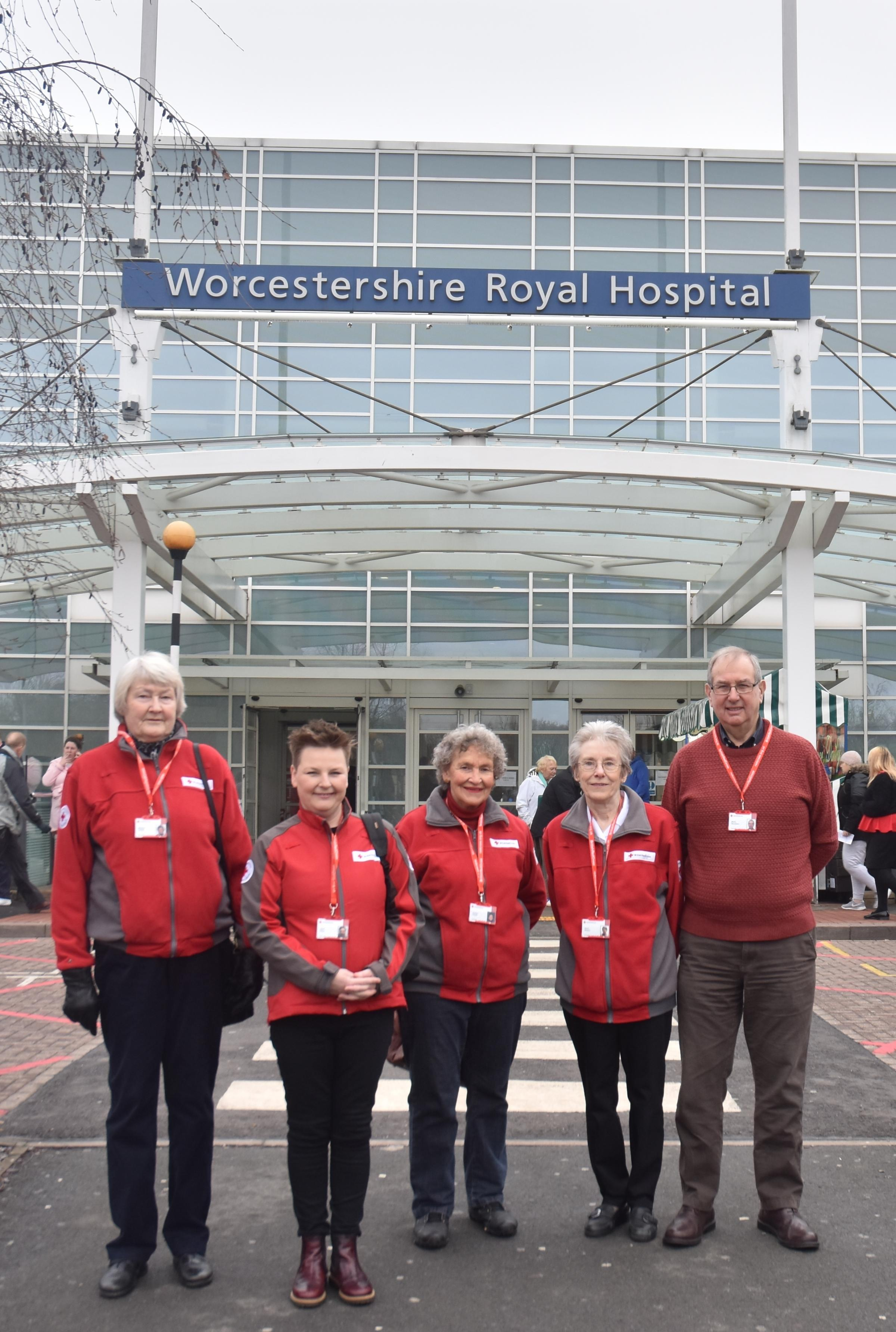 HEROES: (From left) Margret Tufnell (volunteer), Clare King (operations manager Red Cross Central England), Veronica Collette (volunteer), Eileen Watson (volunteer), Martin Stevenson (volunteer).