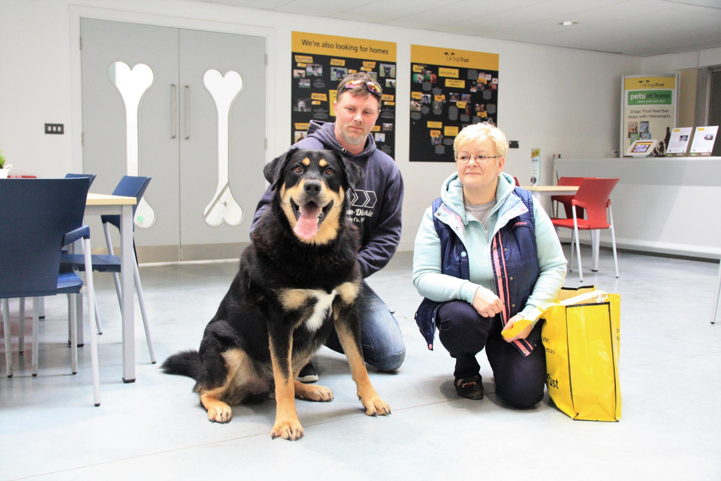 HAPPY: Remus with his new owners Tom and Mandy Stuart