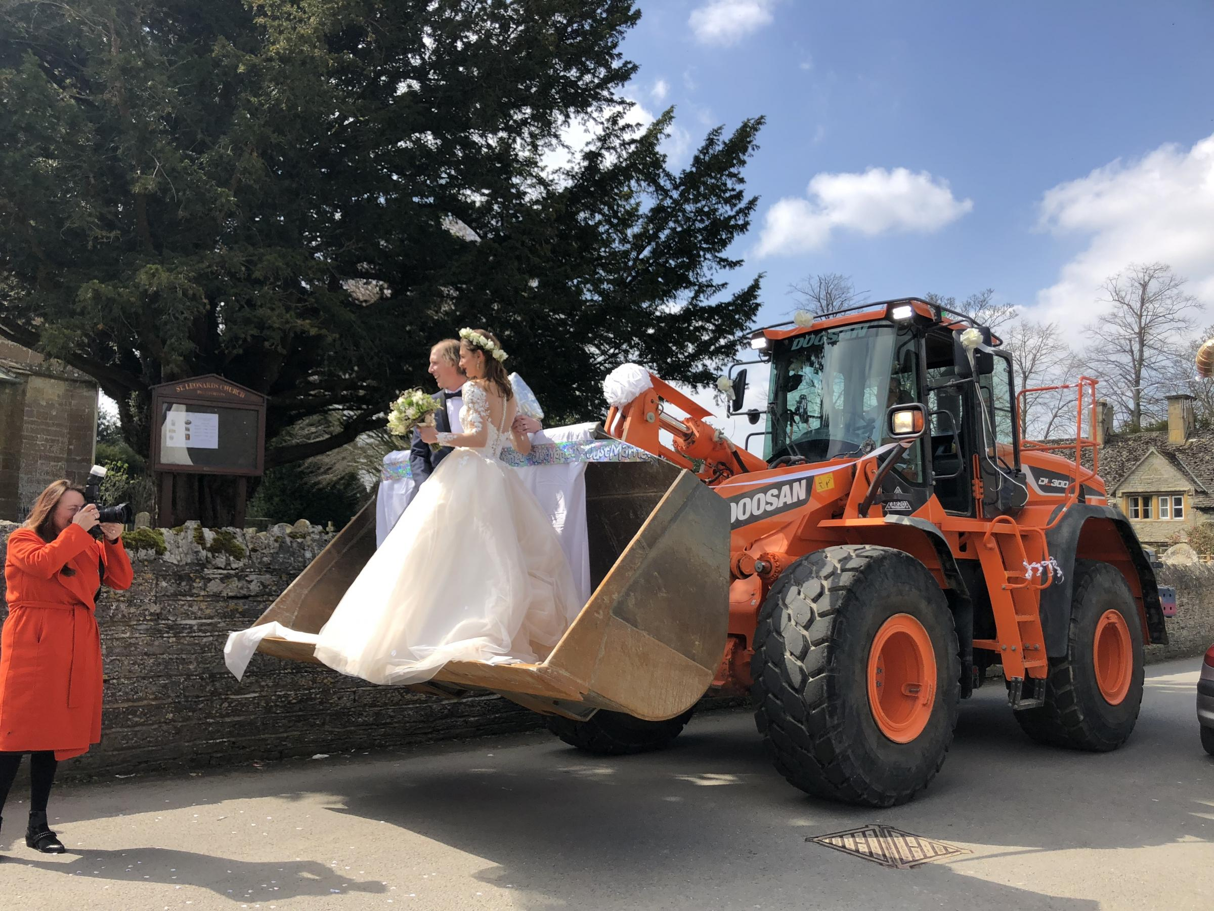 INNOVATIVE: Staff at Budget Skips arranged some unique transport for a wedding.