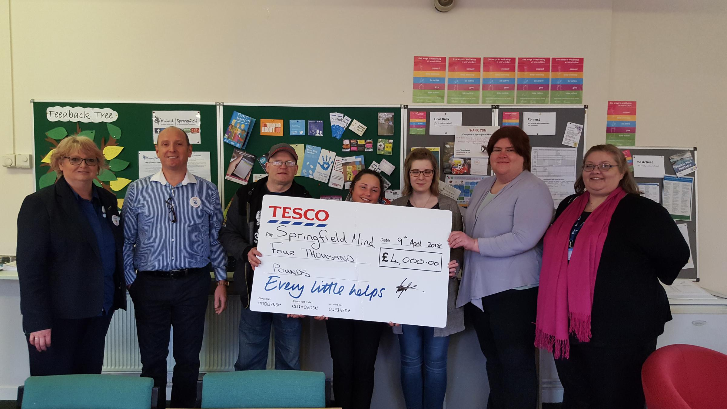 CELEBRATION: A cheque handed over to Springfield Mind