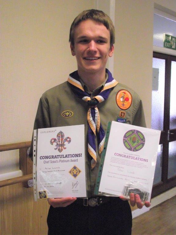 AWARD: Peter Lamb with his Chief Scout Platinum and Young Leader Mission Belt awards.