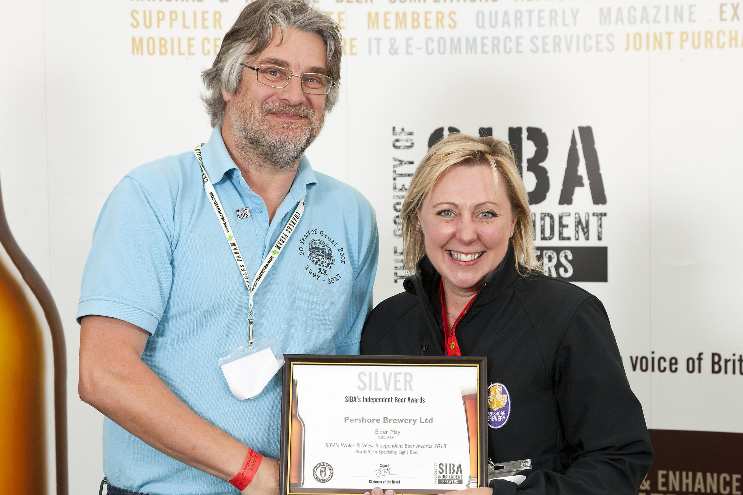 AWARD: Elizabeth Barnett of Pershore Brewery and Chris Gooch from Teme Valley Brewery.