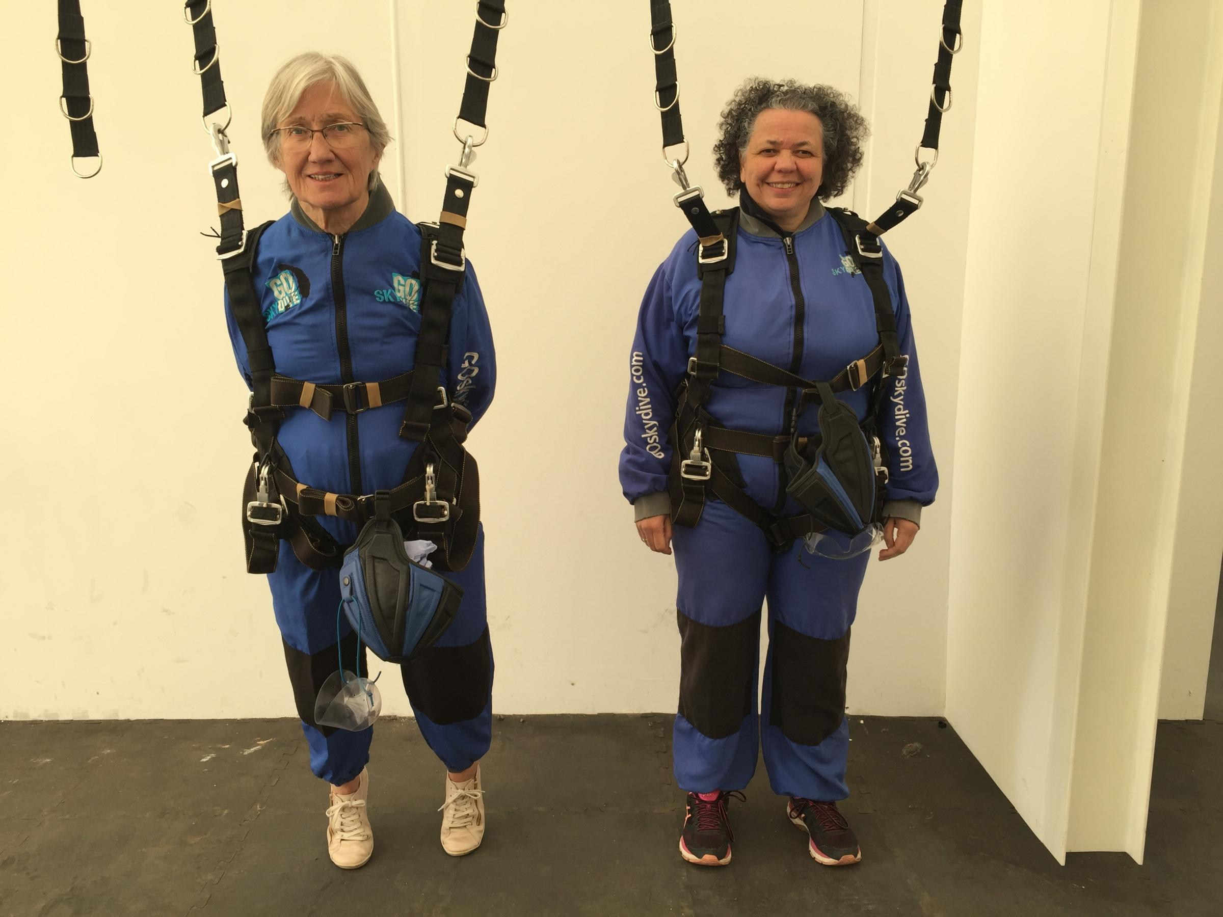CHALLENGE: Jan Taylor and Theresa Mcguaran ahead of their skydive