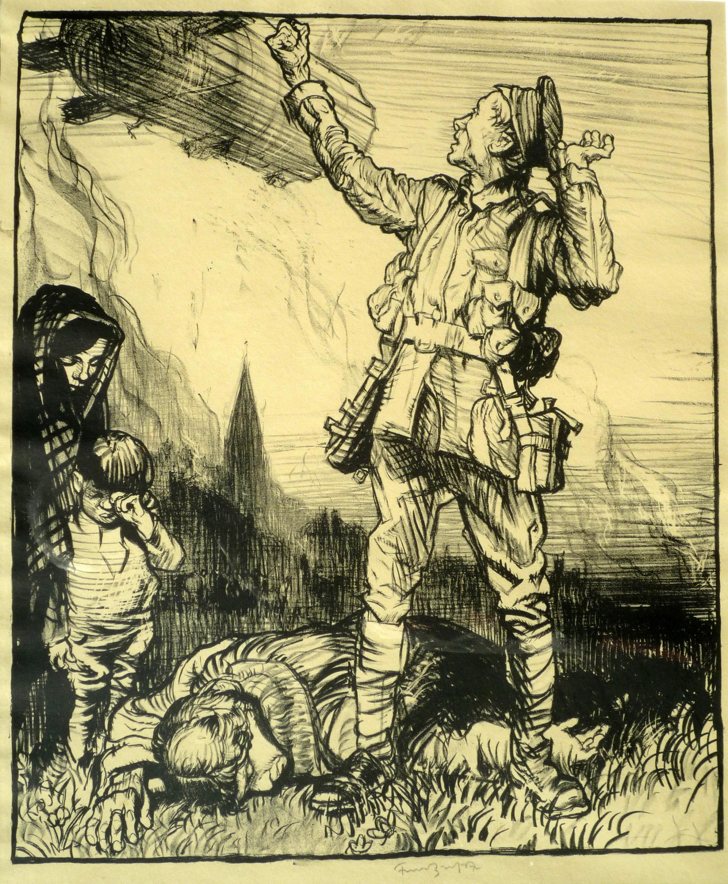 EXHIBITION: BraBrangwyn FW Vow of Vengeance 1914-1918 colour lithograph printed by The Avenue Press