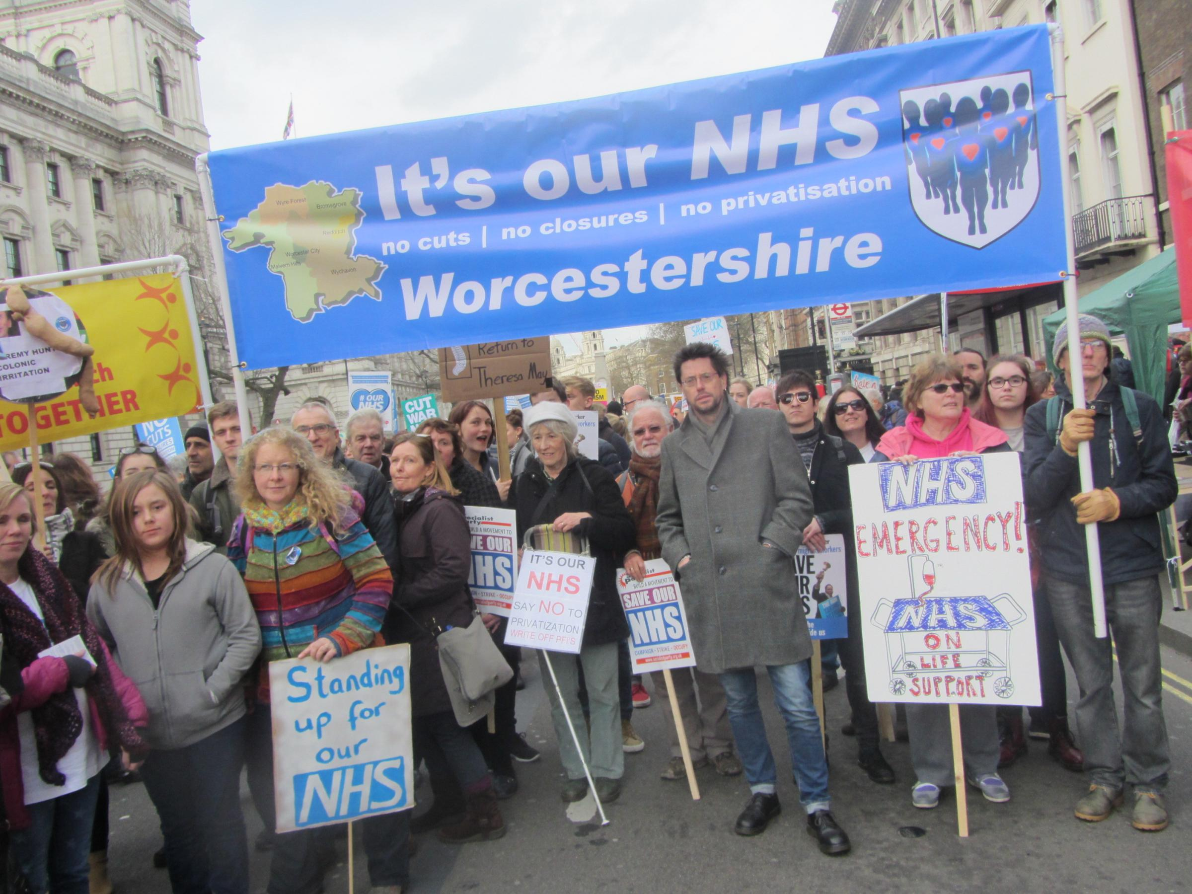 County protesters marched under the banner of It's Our NHS Worcestershire