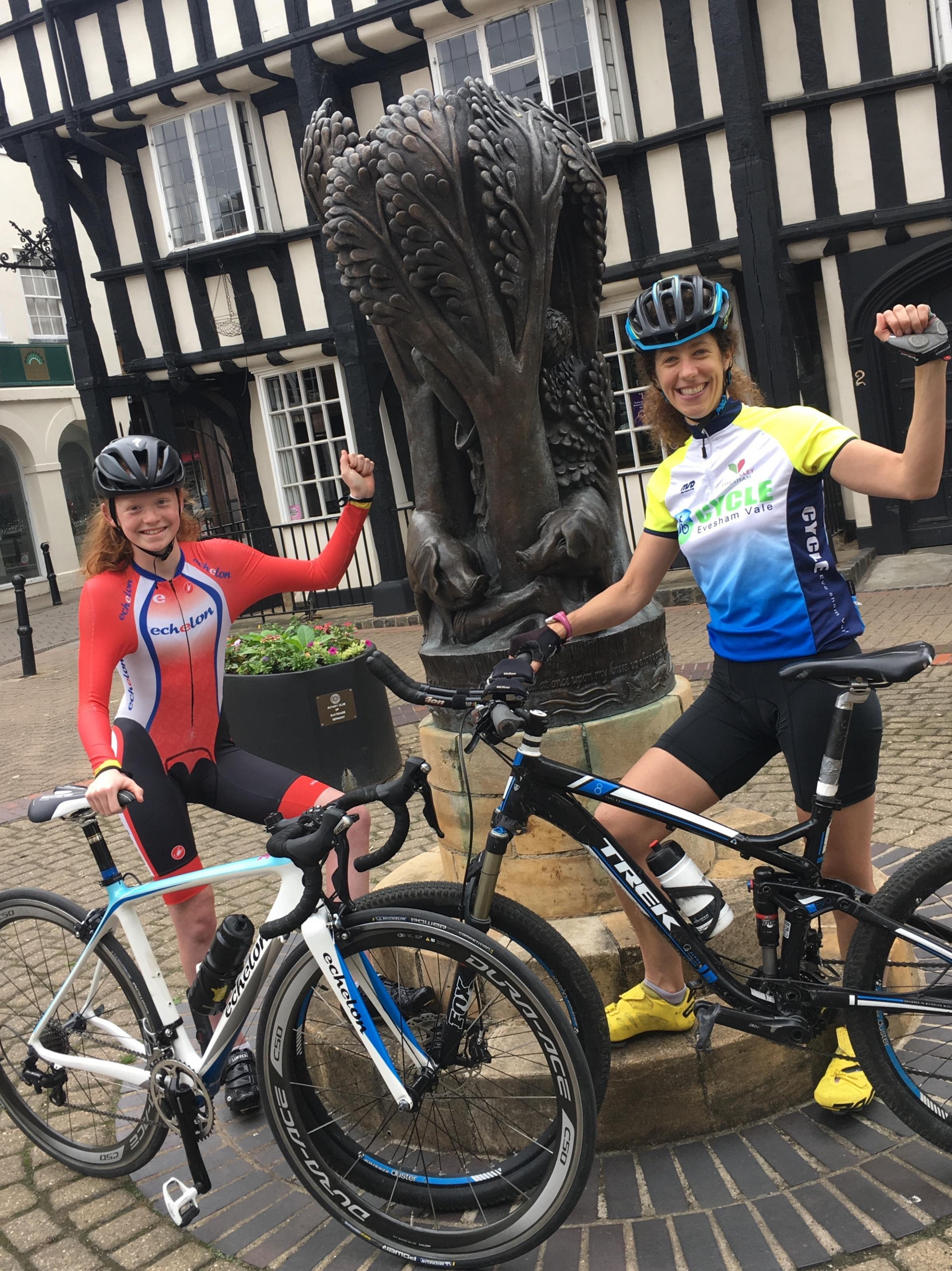 FUN: Aimee Lane and Helen Russell put their foot to the pedal in preparation for the OVO Energy Women's Tour 2018