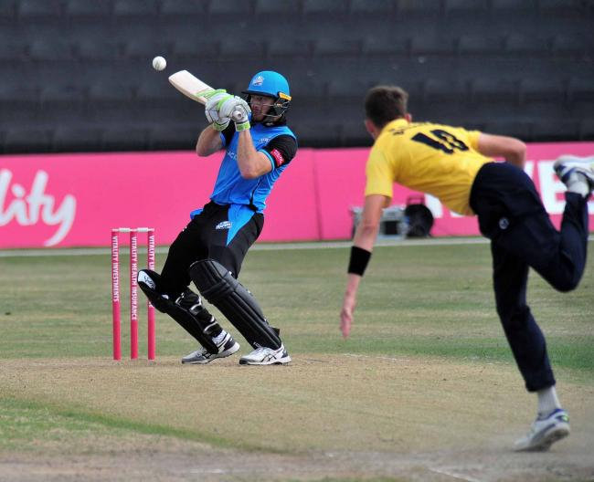 Martin Guptill in boundary-hitting action for Worcestershire Rapids against Birmingham Bears last season. Picture: JONATHAN BARRY