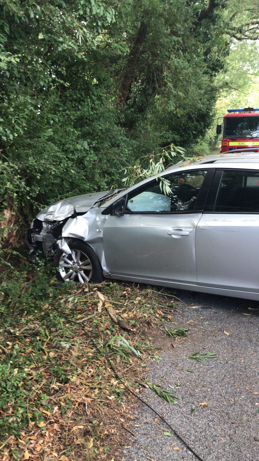 WRECKAGE: A car was damaged in a crash in Stratford Road, Evesham. Picture by @HWFirePebworth