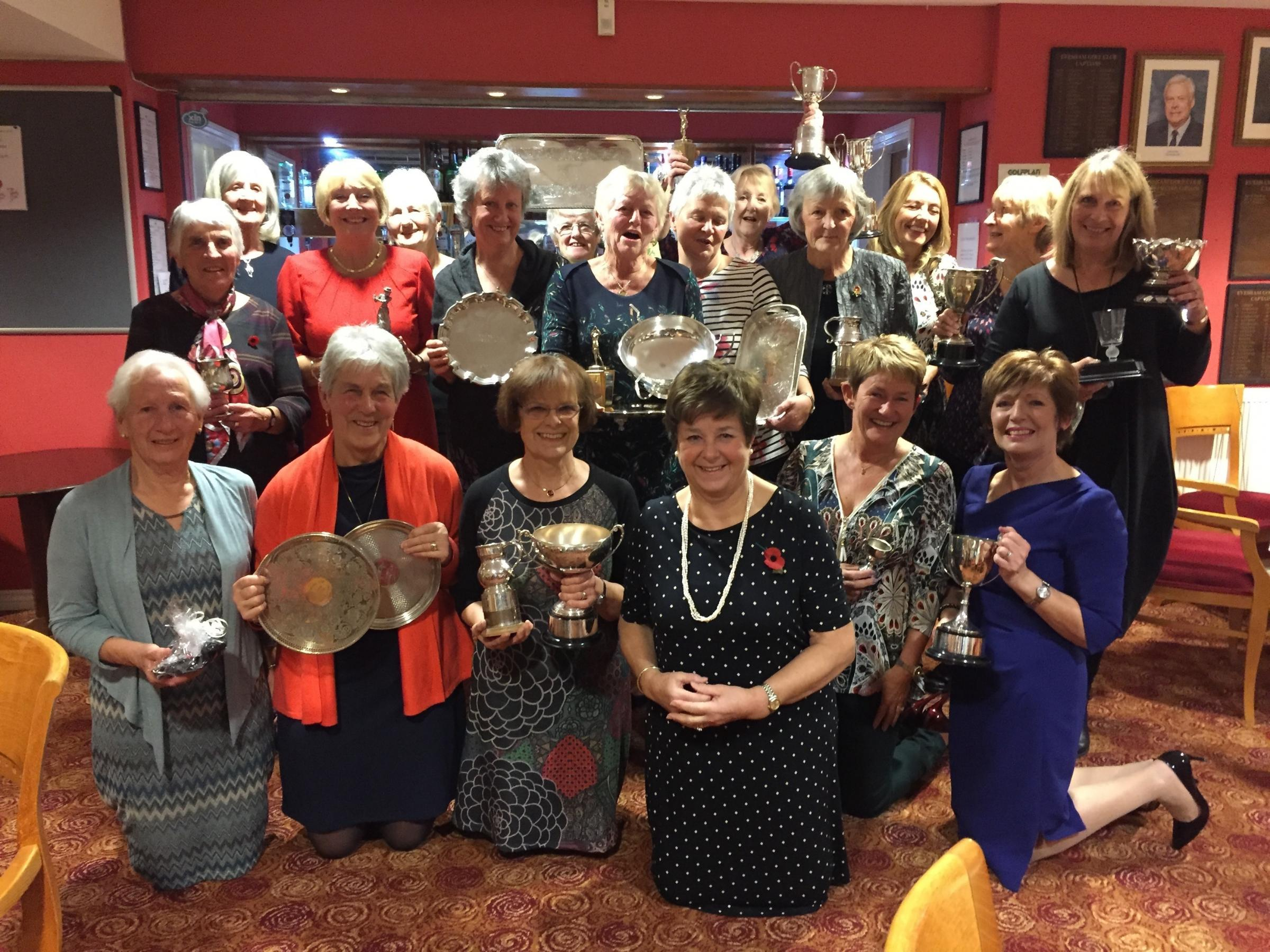 Lady captain Angela Budden (third from right) with Evesham ladies and their trophies. Picture: PENNY OSBORNE