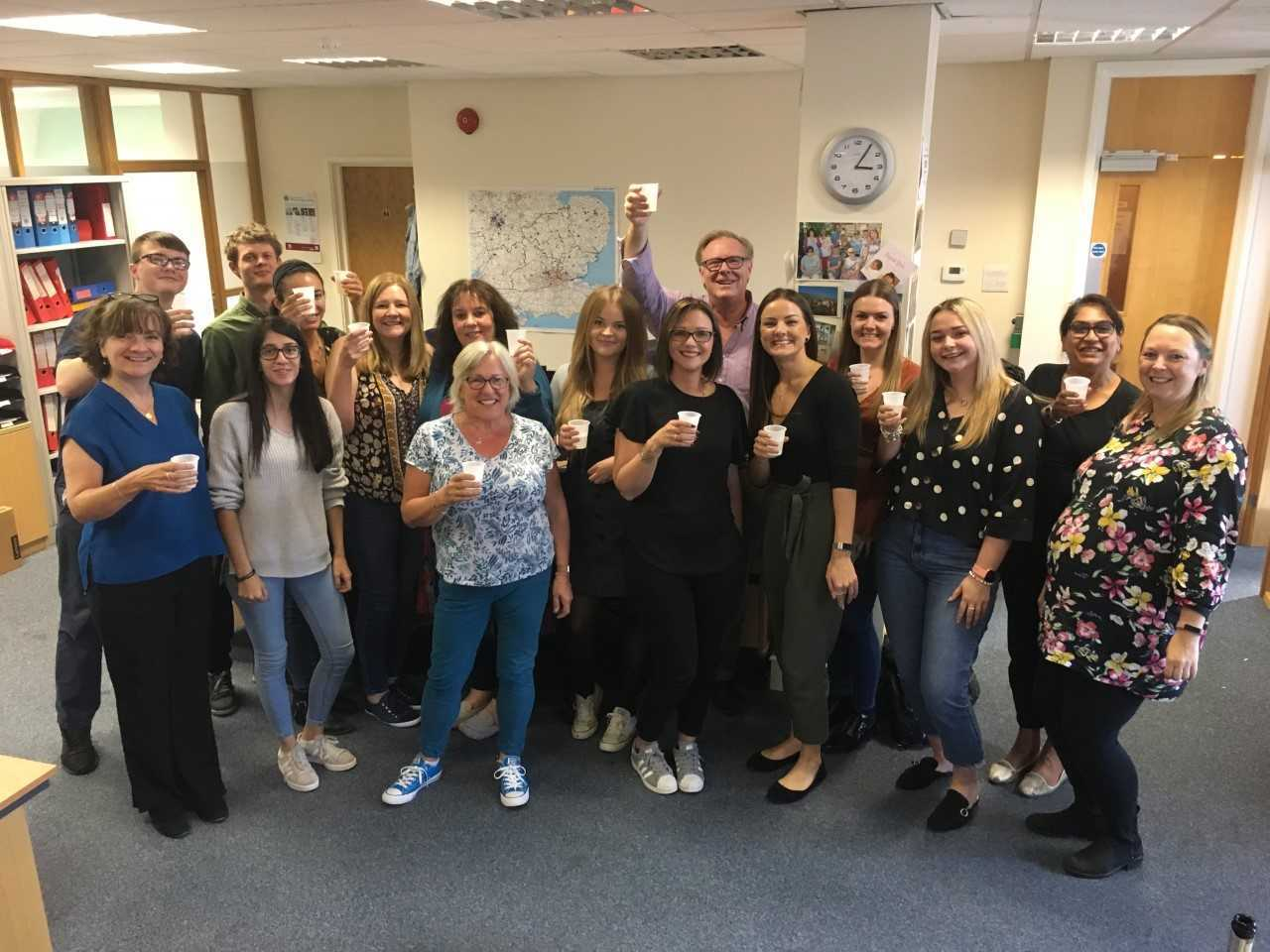 OUTSTANDING: Nexus Fostering staff celebrate the Ofsted report which rated them 'oustanding.'