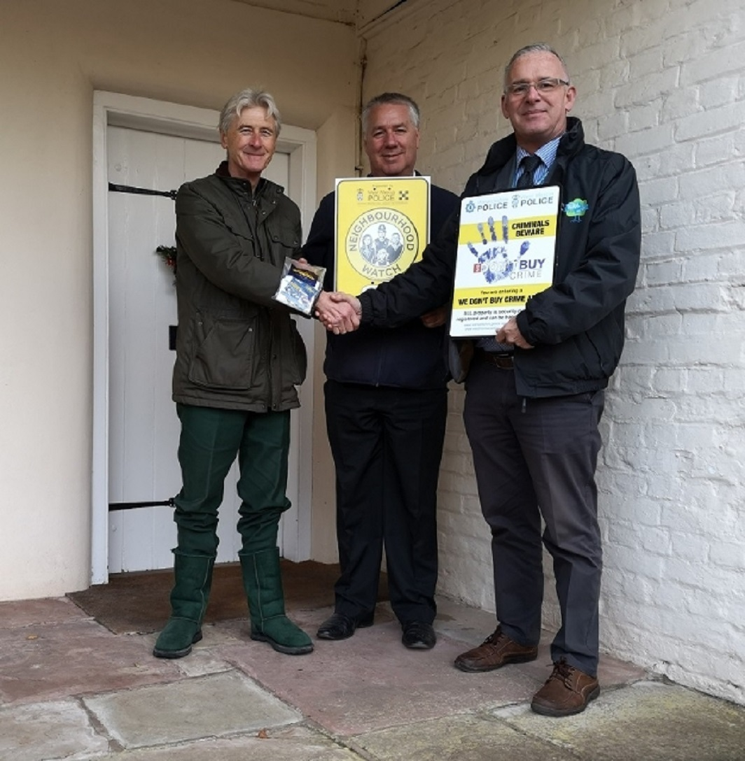 LAUNCHED: : Richard Price, Tarrington resident and Neighbourhood Watch Co-ordinator; Chris Pyemont, Herefordshire Neighbourhood Watch Administrator and Paul Crumpton Rural and Business Officer.