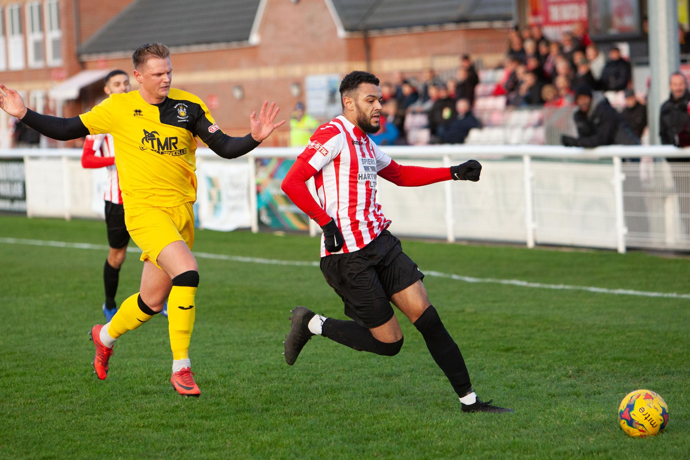 MAGNIFICENT SEVEN: Kane Simpson notched seven goals in two games for Evesham United with brothers Kye and Cory also scoring in a 7-1 win at Highworth Town. Pic: stuartpurfield.co.uk