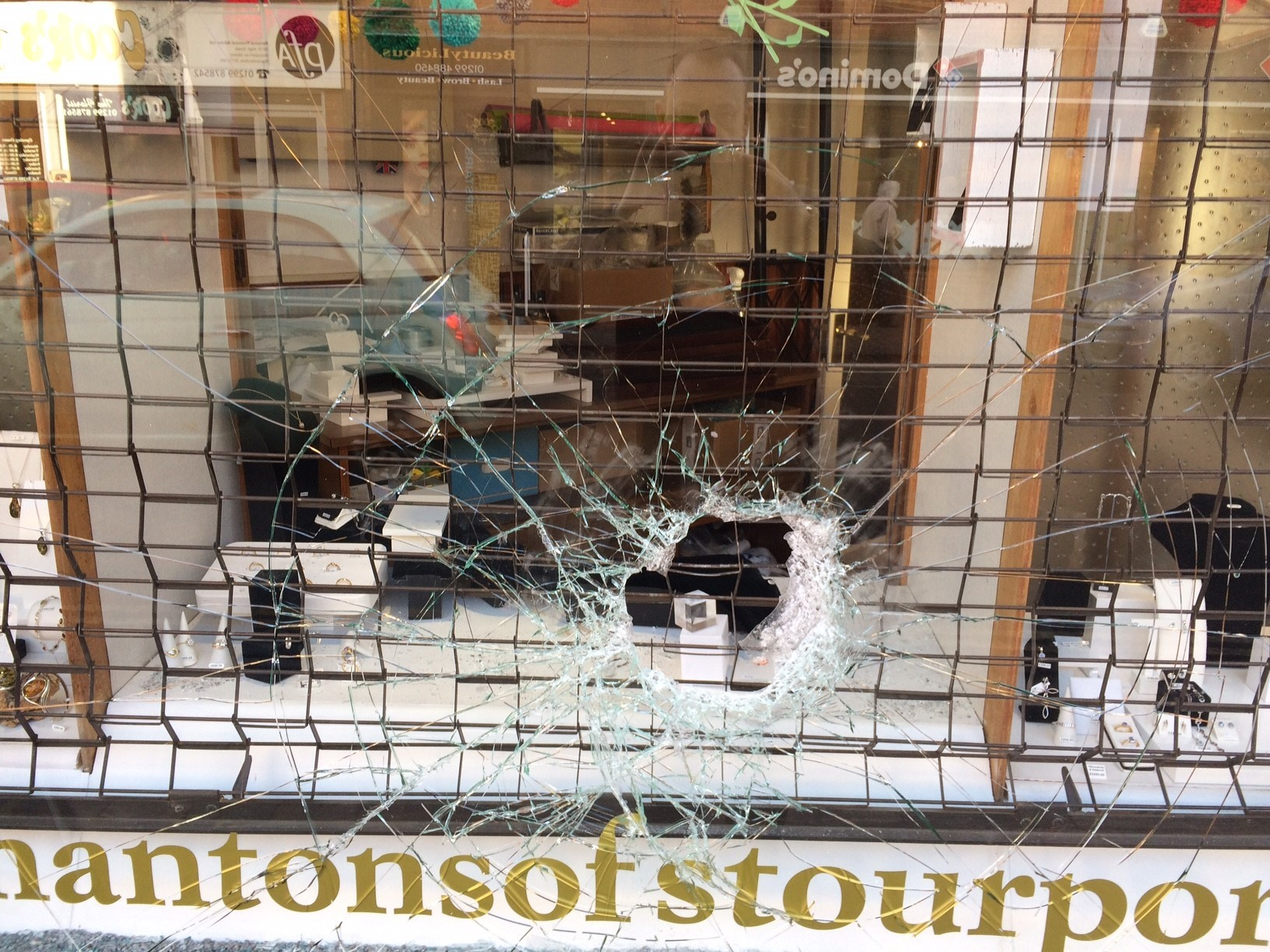Smashed front window at  Mantons of Stourport