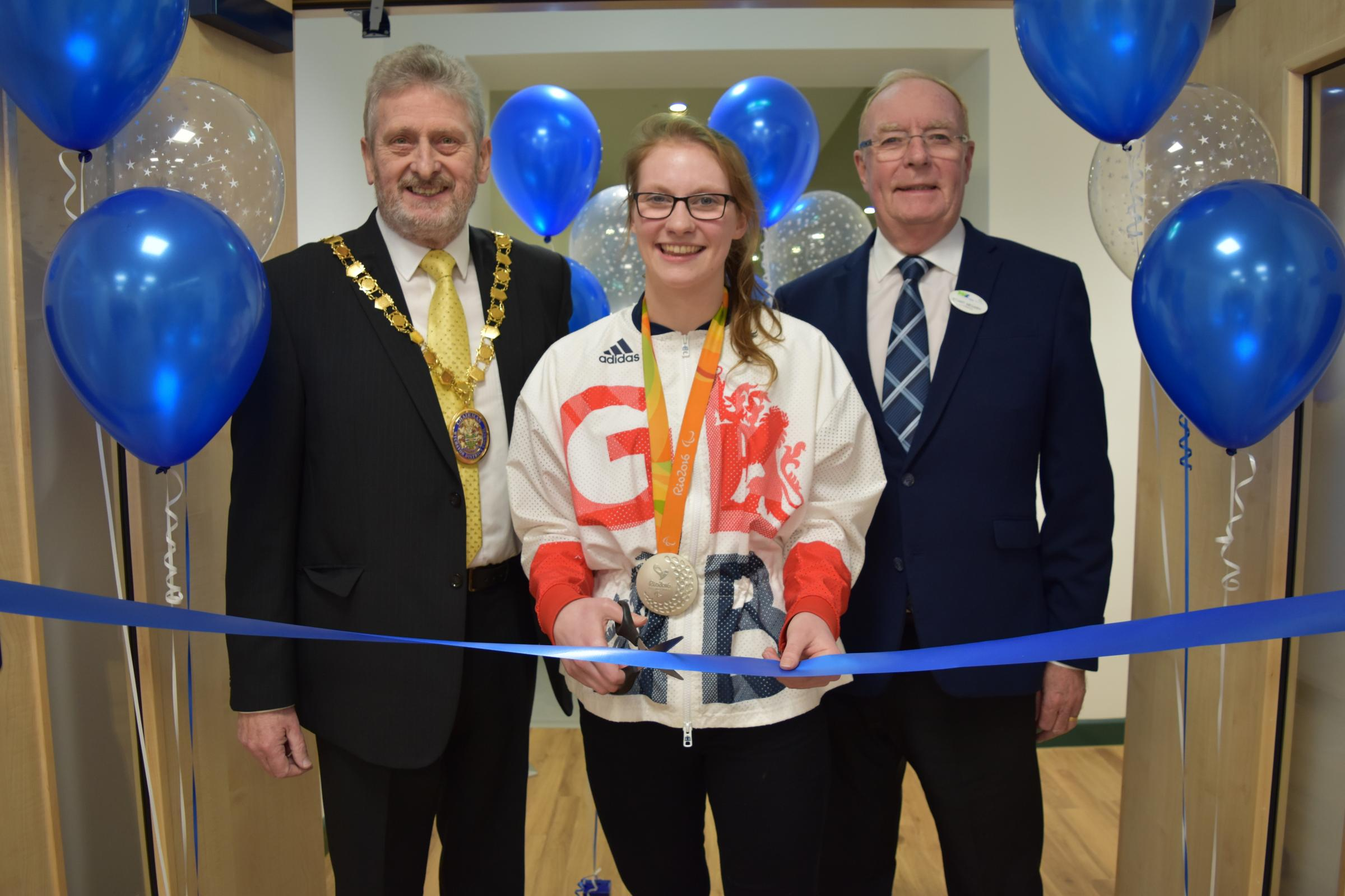 Chairman of Wychavon, Cllr. Tony Rowley, Paralympian, Rebecca Redfern and Chairman of Wychavon Leisure, Stuart Megarry