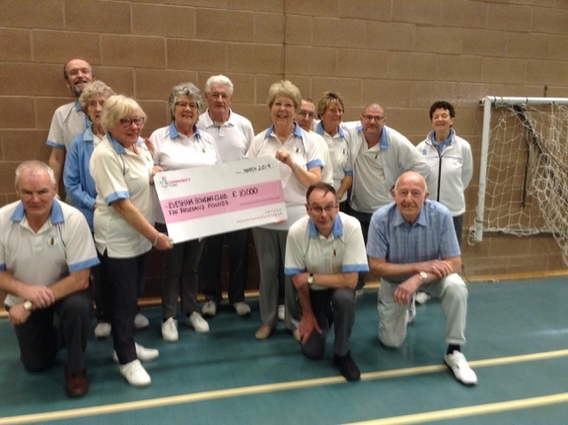 Members of Evesham Bowls Club with their £10,000 cheque from the National Lottery
