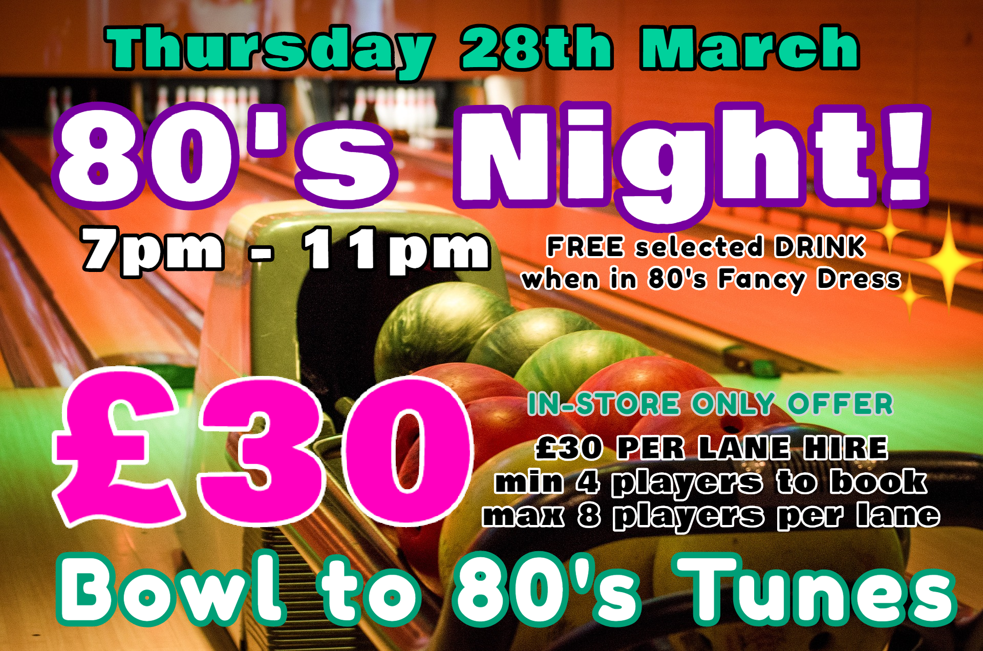 80's Night & Unlimited Bowling