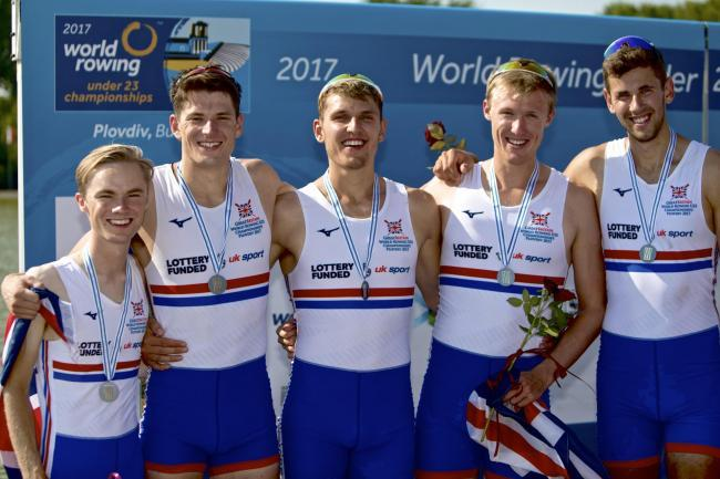 Patrick Sullivan (far right) with the Great Britain under 23 coxed four in 2017. Picture: NAOMI BAKER