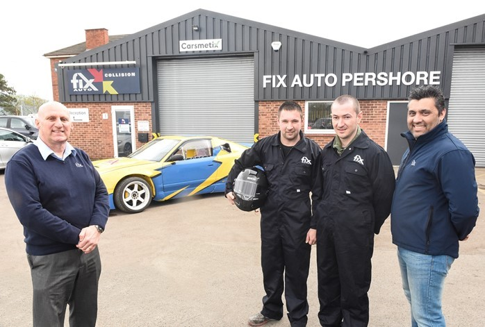 Fix Auto Pershore bodyshop manager Dave Addis (left) with Bulgarian national drift car champion Stefan Stefanov (centre) with the Nissan car he, alongside his team-mates Stanko Ivanov and Zhivko Boychev (right), has built thanks to the support of the Worc