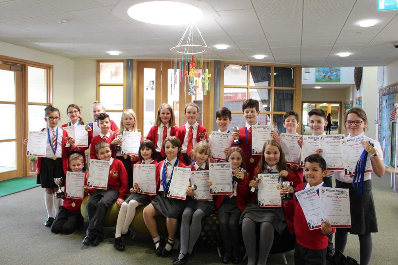 PROUD: Students of Bengeworth C E Primary Academy have triumphed at this years Worcester Competitive Arts Festival