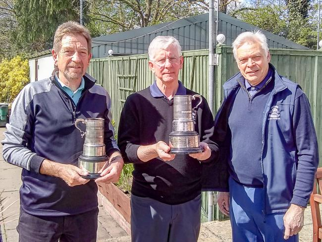 Colin Hussell (left) and Malcolm Hiscock (centre) receive the Ray Till Tankards from Evesham seniors' captain Michael Hocking. Picture: JEFF FLETCHER